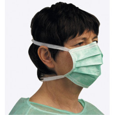Masque 3 plis à lanières vert - Boîte de 50 masques