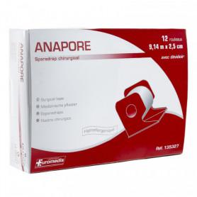 Sparadrap Anapore 2.50cmx9.14m avec dévidoir - 12 rouleaux