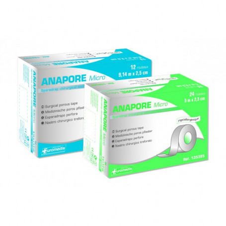 Sparadrap Anapore Micro2.5cmx9.14m - 12 Rouleaux