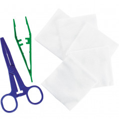 Set de pansement stérile (1 Pince anatomique + 1 pince Kocher + 5 compresses 7,5 x 7,5cm)