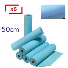 Draps d'examen plastifiés 50 x 38 cm - 6 rouleaux