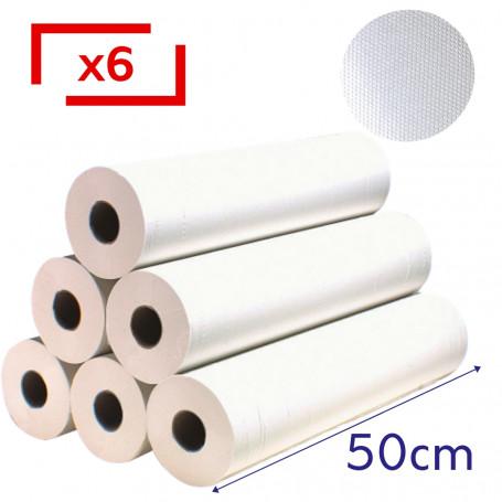 Draps d'examen gaufrés 50x37 - 300 Formats - 6 rouleaux