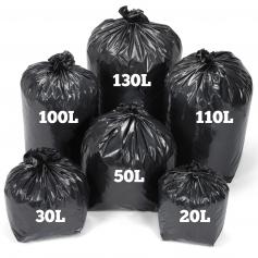 Sac poubelle noir - 20L à 130L - Grande résistance