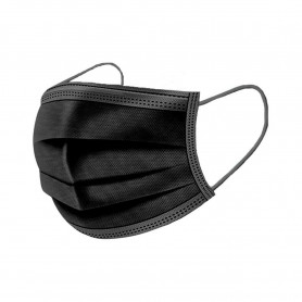 Masques chirurgicaux 3 plis à élastiques Noir