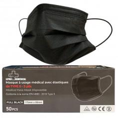 Masques chirurgicaux 3 plis à élastiques Noir - Type II - Boîte de 50 masques