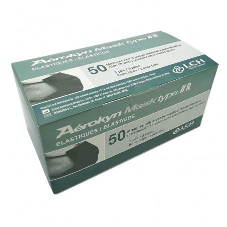 LCH - Masque chirurgical Noir 3 plis à élastiques - Type II R - Boîte de 50 masques